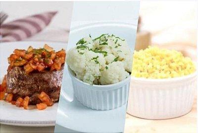 Filé Mignon com Molho de Tomate + Arroz Integral com Cúrcuma + Couve-flor 300g | Porção Individual | Produto acondicionado a vácuo