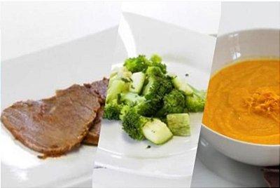 Carne Assada + Purê de Cenoura + Brócolis