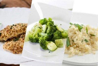Saint Peter com Crosta de Linhaça + Legumes no Vapor + Arroz Integral 300g | Porção Individual | Produto acondicionado a vácuo