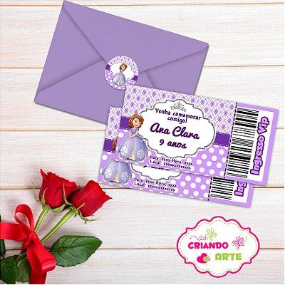 Convite Ingresso 10x5,5 Personalizado com envelope + Brinde
