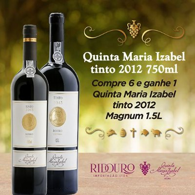 PROMOÇÃO DE PÁSCOA - QUINTA MARIA IZABEL, 2012, tinto, caixa com 6 garrafas 750ml + 1 Magnum de Oferta