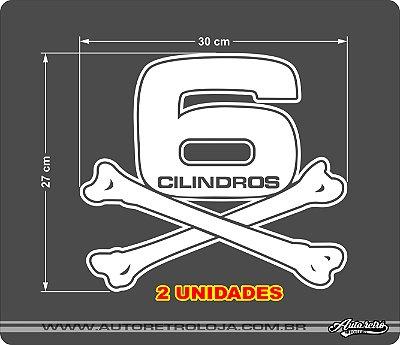 Adesivo 6 Cilindros Opala Diplomata Chevrolet Caravan(par) 2