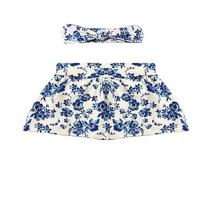 Shorts Saia + Faixa Carol Floral Azul