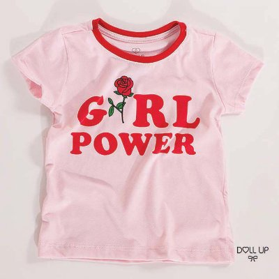 Camiseta Girl Power manga curta menina