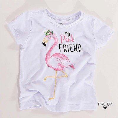 Camiseta Flamingo manga curta menina