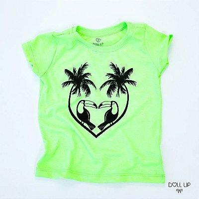 Camiseta Tucanos e Coqueiros manga curta menina