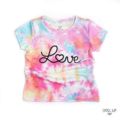 Camiseta Tie Dye Love manga curta menina