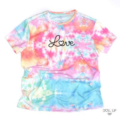 Camiseta Tie Dye Love manga curta feminina
