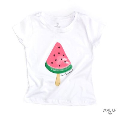Camiseta Picolé Melância manga curta menina