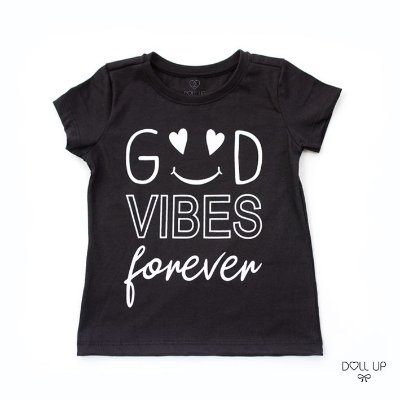 Camiseta Good vibes forever manga curta menina