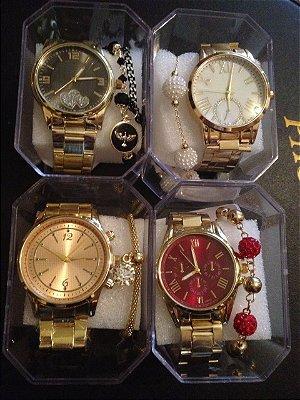 Kit 10 Relógios Femininos Atacado Com Caixinha e Pulseira