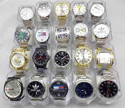 Kit 10 Relógios Pulseira de Aço Várias Marcas Atacado