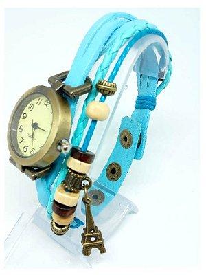 Relógio Feminino Vintage Azul Pulseira de Couro Atacado
