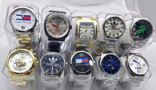 Kit 10 Relógios Masculinos Várias Marcas Replicas Com Caixa