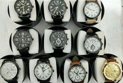 Kit 05 Relógios Masculinos Couro Replicas Com Caixa