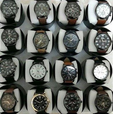 Kit 06 Relógios Masculinos Couro Replicas Com Caixa