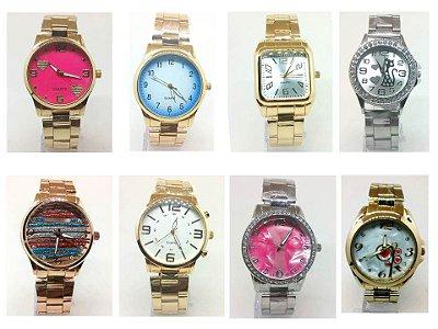 Kit 12 Relógios Femininos Em Aço No Atacado