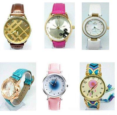 Kit 10 Relógio Feminino Pulseira Couro e Tecido Atacado