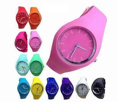 Kit 06 Relógios Femininos Colors Em Silicone No Atacado