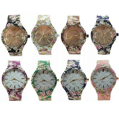 Kit 05 Relógios Femininos Floridos Em Silicone Atacado