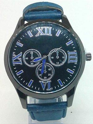 Relógio Masculino Pulseira de Couro Azul Atacado Revenda