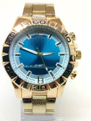 Relógio Masculino Dourado Fundo Azul No Atacado Para Revenda