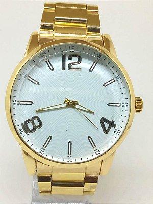 Relógio Masculino Dourado Fundo Branco Atacado Para Revenda