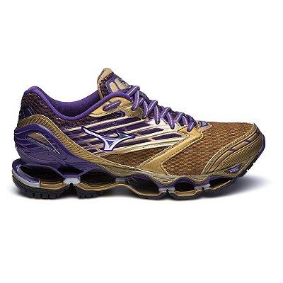 Tênis Mizuno Wave Prophecy 5 - Golden Runners - Dourado e Roxo
