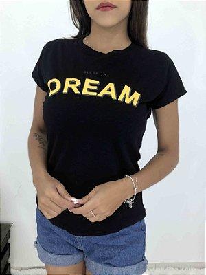 T-SHIRTS FEMININA ALGODÃO PRETO SLEEP TOO DREAM