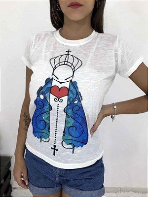 T-SHIRTS FEMININA FLAMÊ OFF AMARELO FÉ ENXERGA
