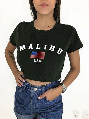 T-SHIRTS CROPPED ALGODÃO MILITAR MALIBU USA