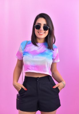 T-SHIRTS FEMININA ESTAMPADA CROPPED TIE DYE PINKISH