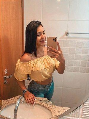 T-SHIRTS CROPPED CIGANINHA COM PÉROLAS AMARELO