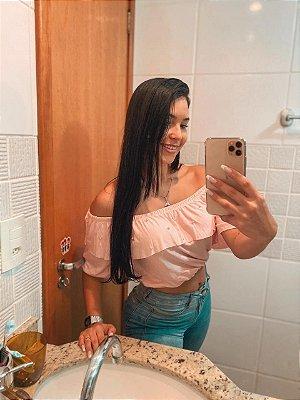 T-SHIRTS CROPPED CIGANINHA COM PÉROLAS ROSA BB