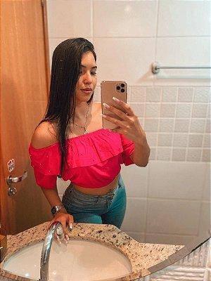 T-SHIRTS CROPPED CIGANINHA COM PÉROLAS ROSA PINK