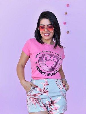 T-SHIRTS ALGODÃO FEMININA ROSA DISNEY