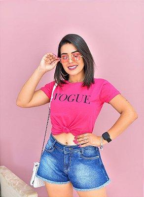 T-SHIRTS ALGODÃO FEMININA ROSA VOGUE