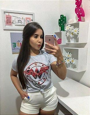 T-SHIRTS FEMININA POLIÉSTER CINZA MESCLA MULHER MARAVILHA FLORIDO