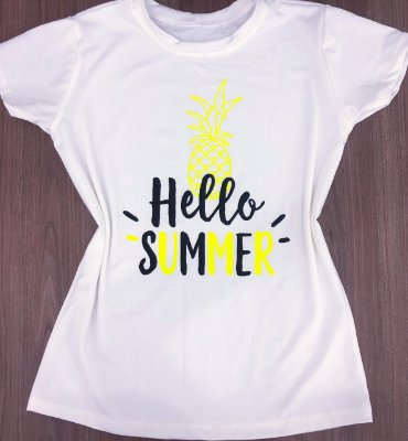 T-SHIRTS FEMININA VISCOLYCRA BRANCO OFF HELLO SUMMER