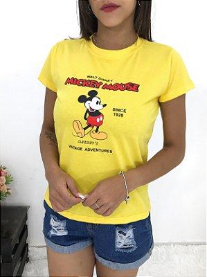 T-SHIRTS FEMININA ALGODÃO AMARELO MICKEY MOUSE