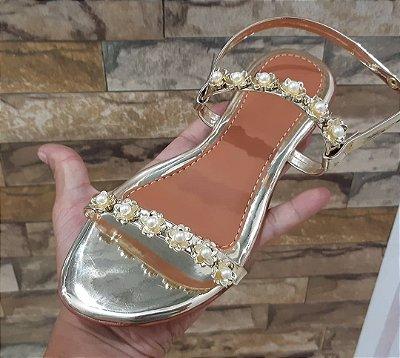 Sandalia metalizada florzinha ouro - Atacado