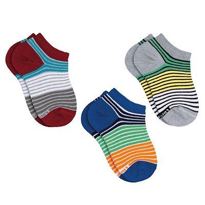 Kit de Meia Listras Colors - 3 Pares - Lupo Kids