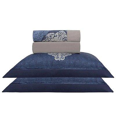 Jogo de Cama Satinee Acetinado Vizan Blue King - 300 Fios - Kacyumara