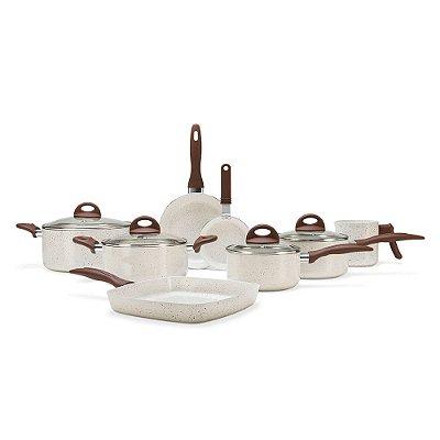 Jogo de Panelas Antiaderente Ceramic Life Smart Plus Vanilla - 8 peças - Brinox