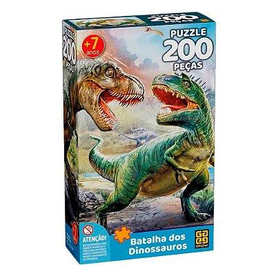 Quebra-Cabeça - Batalha Dos Dinossauros - 200 Peças - Grow