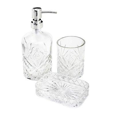 Conjunto Para Banheiro Cristal - 3 Peças - Class Home