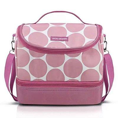 Bolsa Térmica com 2 Compartimentos Dot - Rosa - Jacki Design