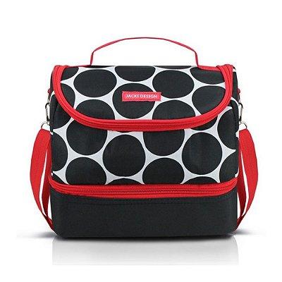 Bolsa Térmica com 2 Compartimentos Dot - Preta/Vermelha - Jacki Design