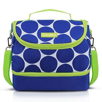 Bolsa Térmica com 2 Compartimentos Dot - Azul/ Verde - Jacki Design