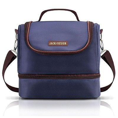 Bolsa Térmica com 2 Compartimentos - Azul/Marrom - Jacki Design